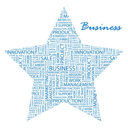 BUSINESS. Word collage on white background Vector