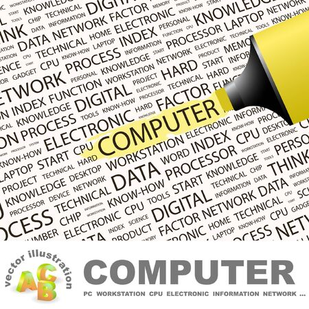 COMPUTER. Highlighter over background with different association terms.  Vector