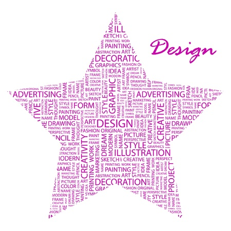 package printing: DESIGN. Word collage on white background