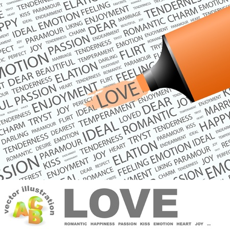 LOVE. Highlighter over background with different association terms. Vector
