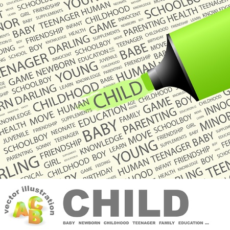 bambino: CHILD. Highlighter over background with different association terms. Illustration
