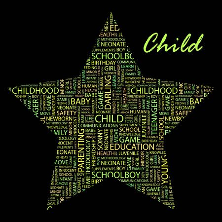bambino: CHILD. Word collage on black background. Illustration with different association terms. Illustration