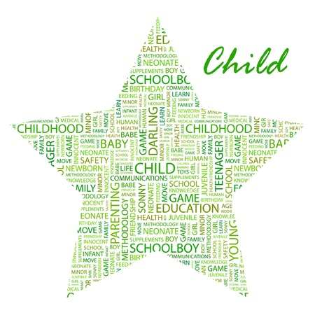 CHILD. Word collage on white background Vector