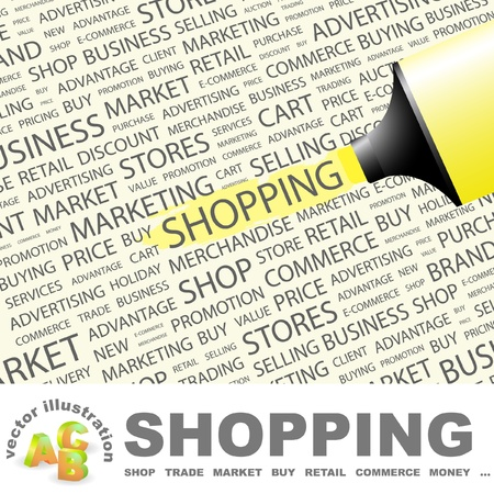 SHOPPING. Highlighter over background with different association terms.  Vector