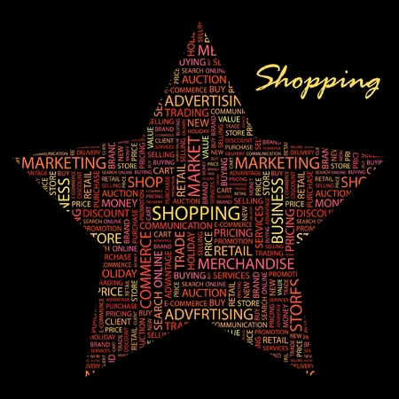 SHOPPING. Word collage on black background. Stock Vector - 9908254