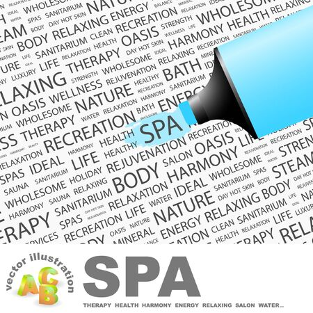 sanitarium: SPA. Highlighter over background with different association terms. Illustration