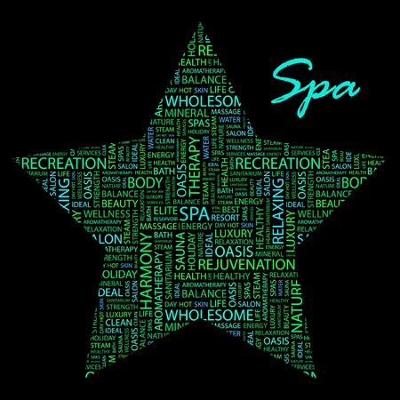 spa collage: SPA. Word collage on black background.