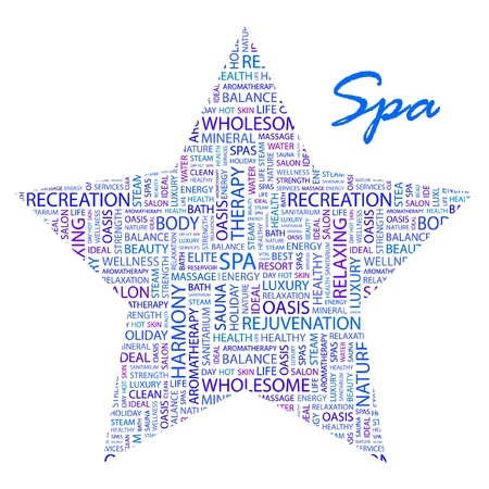 SPA. Word collage on white background