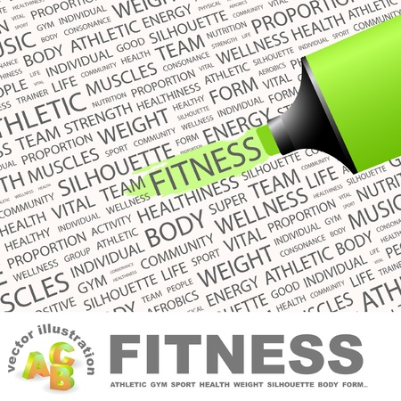FITNESS. Highlighter over background with different association terms. Vector
