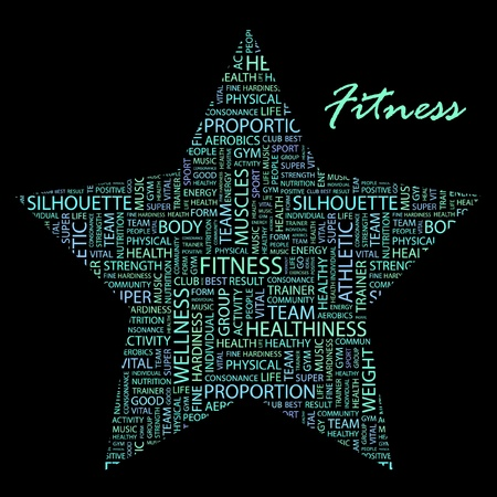 FITNESS. Word collage on black background Vector