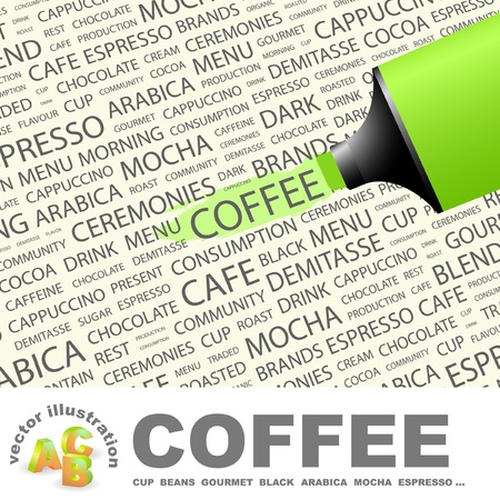 COFFEE. Highlighter over background with different association terms. Vector