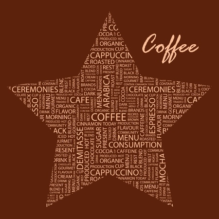 COFFEE. Illustration with different association terms.    Vector