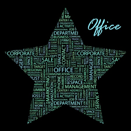 regional product: OFFICE. Word collage on black background. Vector illustration.