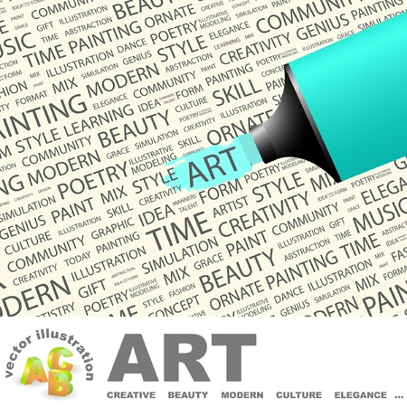 ART. Highlighter over background with different association terms. Vector