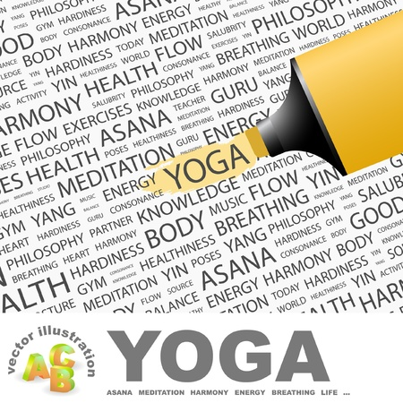 yoga position: YOGA. Highlighter over background with different association terms.  Illustration