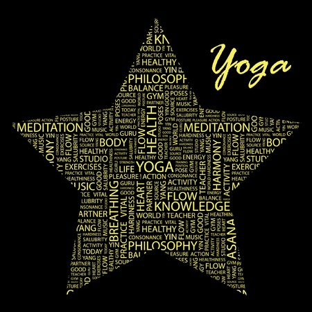 salubrity: YOGA. Word collage on black background. Illustration