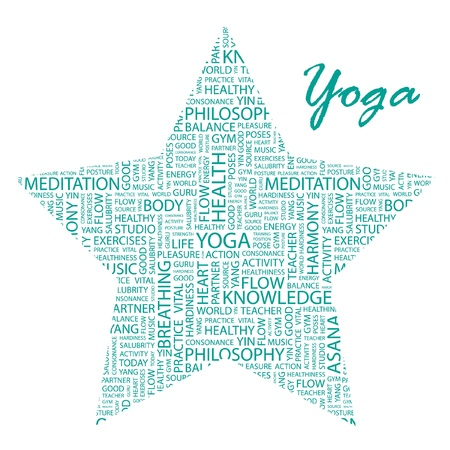 asanas: YOGA. Word collage on white background Illustration
