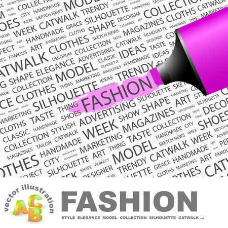 FASHION. Highlighter over background with different association terms.   Vector