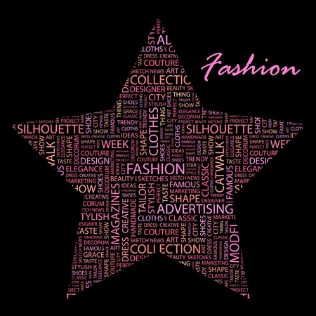 catwalk: FASHION. Word collage on black background.  Illustration