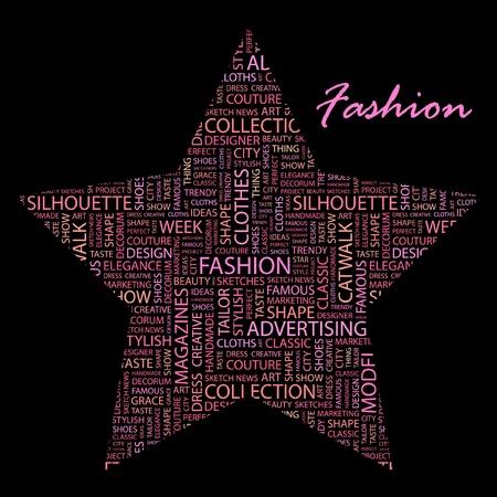 catwalk model: MODA. Collage di parola su sfondo nero.