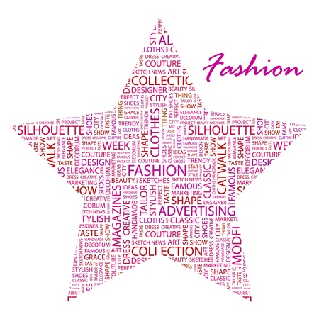 FASHION. Word collage on white background.  Vector