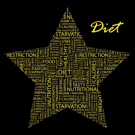 DIET. Word collage on black background.  Stock Vector - 9906569