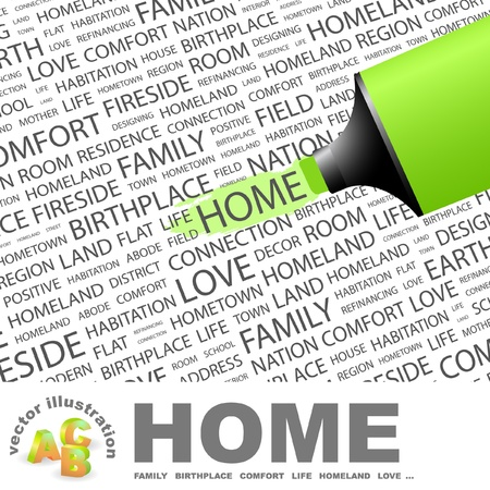 HOME. Highlighter over background with different association terms.   Vector