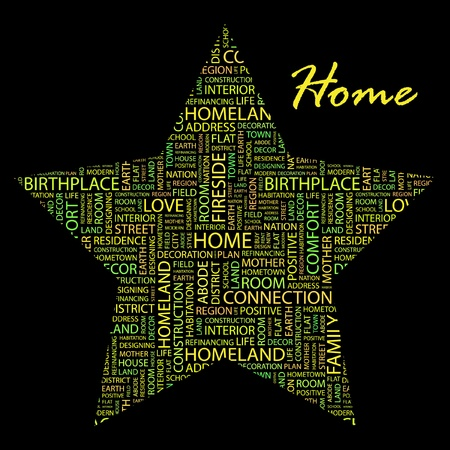 HOME. Word collage on black background. Stock Vector - 9401005