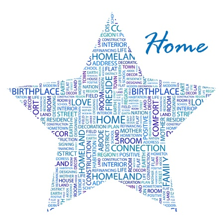 HOME. Word collage on white background.  Vector