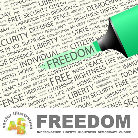 FREEDOM. Highlighter over background with different association terms.  Vector