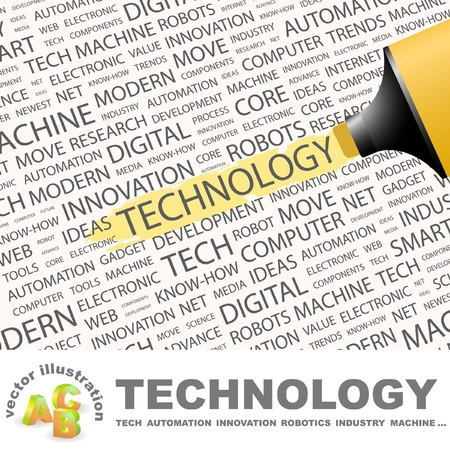 TECHNOLOGY. Highlighter over background with different association terms.   Vector