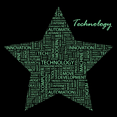 TECHNOLOGY. Word collage on black background.  Stock Vector - 9401041