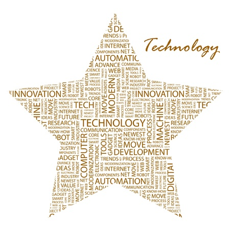 TECHNOLOGY. Word collage on white background.  Vector