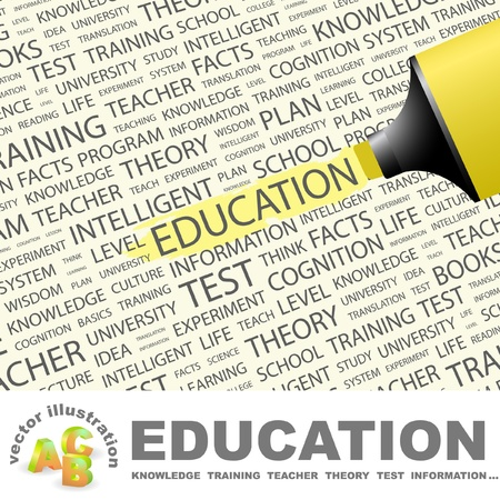 lecture: EDUCATION. Highlighter over background with different association terms.