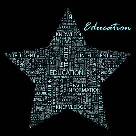 extramural: EDUCATION. Word collage on black background.