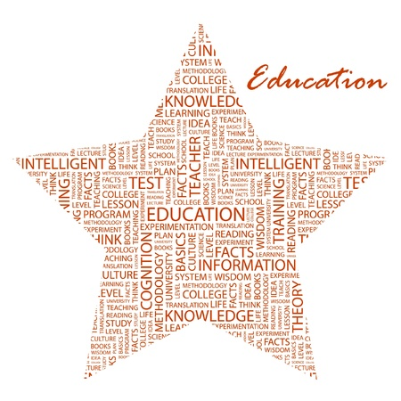 university word: EDUCATION. Word collage on white background. Vector illustration.