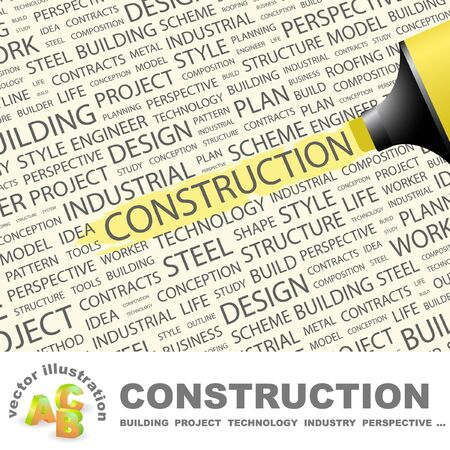 CONSTRUCTION. Highlighter over background with different association terms.  Vector