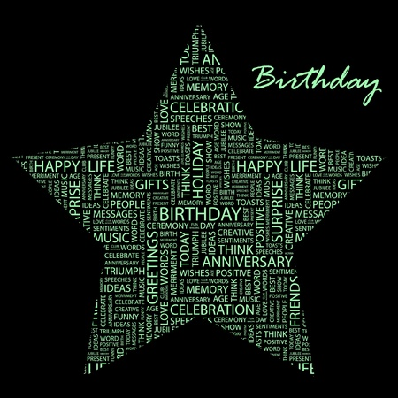 merriment: BIRTHDAY. Word collage on black background.  Illustration