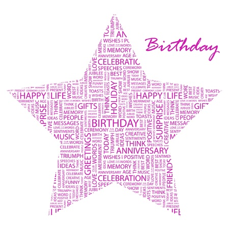 BIRTHDAY. Word collage on white background. Vector