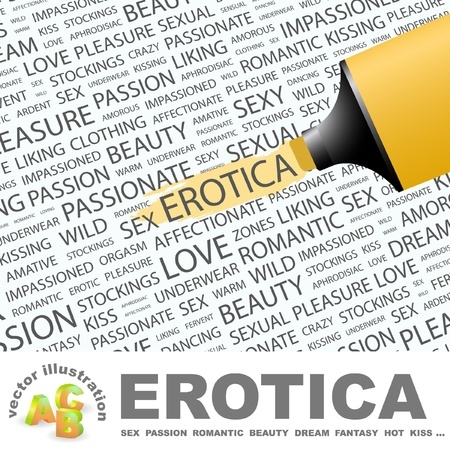 EROTICA. Highlighter over background with different association terms.   Illustration