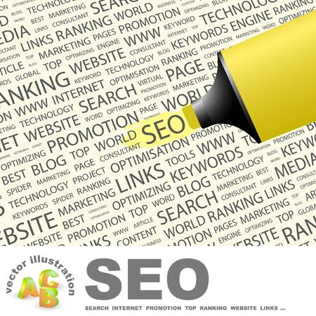 SEO. Highlighter over background with different association terms.  Vector