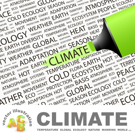 cold climate: CLIMATE. Highlighter over background with different association terms.  Illustration