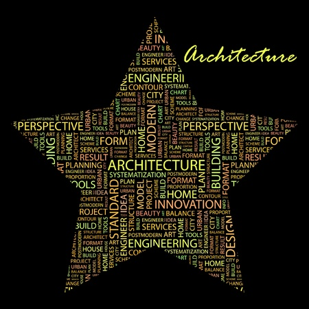 systematization: ARCHITECTURE. Word collage on black background.