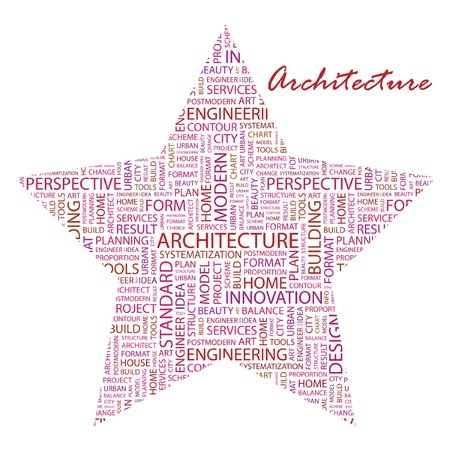 manage clutter: ARCHITECTURE. Word collage on white background.