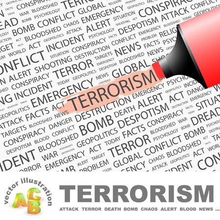 TERRORISM. Highlighter over background with different association terms.   Vector