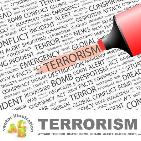 bloodshed: TERRORISMO. Marcador de resaltado sobre fondo con t�rminos de asociaci�n diferente.   Vectores