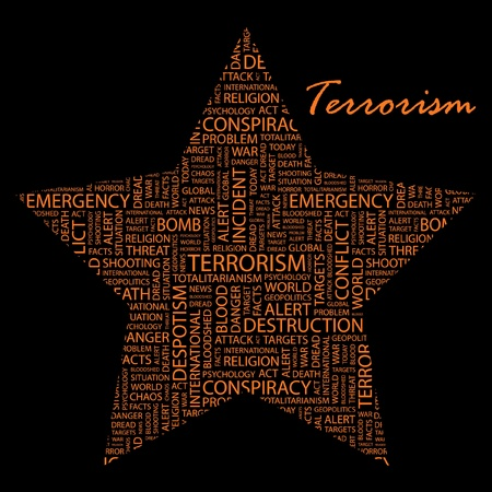 TERRORISM. Word collage on black background.   Illustration