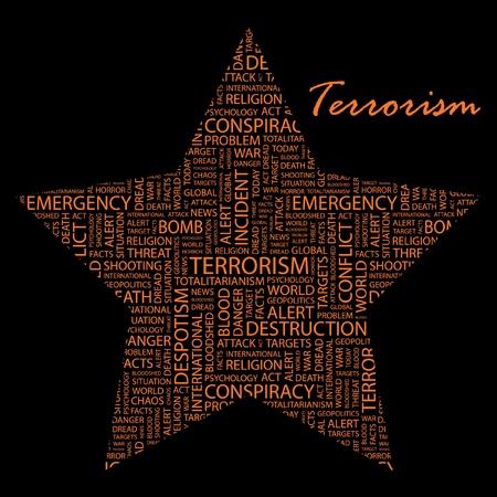 bloodshed: TERRORISMO. Collage de palabra sobre fondo negro.