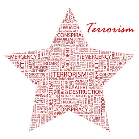 despotism: TERRORISM. Word collage on white background.  Illustration