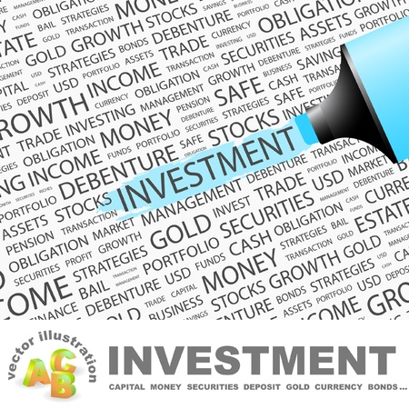 INVESTMENT. Highlighter over background with different association terms. Vector illustration. Vector